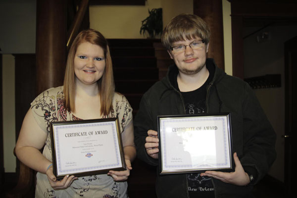 TWO MEMBERS OF MISSOURI State University-West Plains' chapter of Phi Beta Lambda (PBL), an educational association of postsecondary business students, placed in competitive events held as part of the annual PBL State Leadership Conference April 12 in Columbia.  Tori Porter, a freshman from Williamsville, Mo., placed first in the Future Business Educator competition, and Zachary Hambelton, a sophomore from Gainesville, placed third in International Business.  With their placings, both are now eligible to compete in the same events at the PBL National Leadership Conference June 24-28 in Nashville, Tenn.  While at nationals, they will attend various workshops, participate in a volunteer service event, and network with peers from colleges and universities across the U.S.  Funding for the duo's trip to the state conference was provided by the Philanthropic Women for Education organization in West Plains.  The group also will assist with funding for the national trip.  (Missouri State-West Plains Photo)