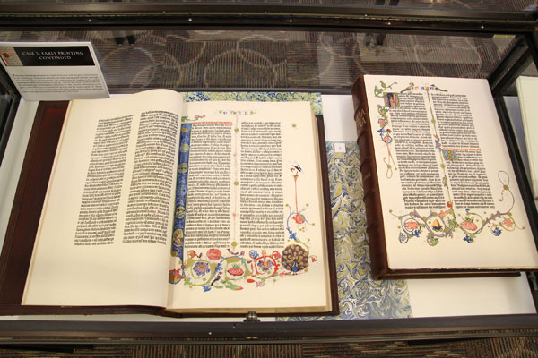 """THIS FACSIMILE OF THE GUTENBERG Bible is one of several pieces of """"The Art of the Printed Book Through the Centuries"""" exhibit now on display at the Garnett Library on the Missouri State University-West Plains campus.  The traveling exhibit, which features pieces from the collection at The St. Louis Mercantile Library, was brought to campus through The Missouri Center for the Book with funding from the National Endowment for the Arts.  (Missouri State-West Plains Photo)"""