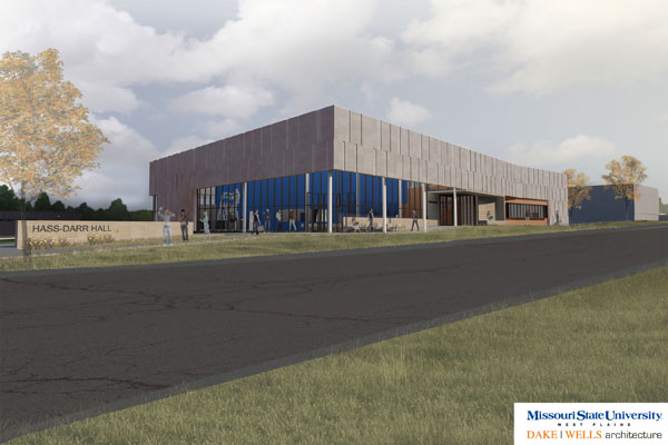 THIS IS AN ARTIST'S RENDERING of Missouri State University-West Plains' new Hass-Darr Hall once it's complete in spring 2018. The Carol Silvey Student Union will be housed in this facility at the corner of Trish Knight Street and Garfield Avenue. The Student Recreation Center is in the background. (Image provided)