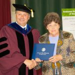 LINDA MOORE, right, West Plains, received an honorary Associate of Applied Science degree at Missouri State University-West Plains' 2015 commencement ceremony. Chancellor Drew Bennett presented her with the degree. (Missouri State-West Plains Photo)