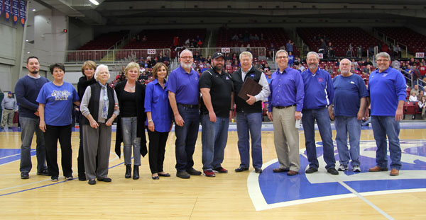 "FAMILY MEMBERS of the late Carrick ""Boze"" Davidson and Gene Richman were on hand Friday evening, Feb. 24, when members of the Grizzly Booster Club Board of Directors at Missouri State University-West Plains announced the men were the first to receive emeritus status on the board for their contributions and support of the Grizzly Booster Club and Grizzly Athletics. From left are current board members Zack McNett and Carolyn Smith; Richman's daughter, Cathy Duggan, Lake of the Ozarks; Richman's wife, Alva Jean, West Plains; Richman's daughter, Vicky Brown, West Plains; Davidson's daughter-in-law, son and grandson, Nancy, Dick and Richard Davidson, all of West Plains; Grizzly Booster Club President Bo Pace; Missouri State-West Plains Director of Development Joe Kammerer; and board members John Kenslow, Russ Squires and John Williams. (Missouri State-West Plains Photo)"
