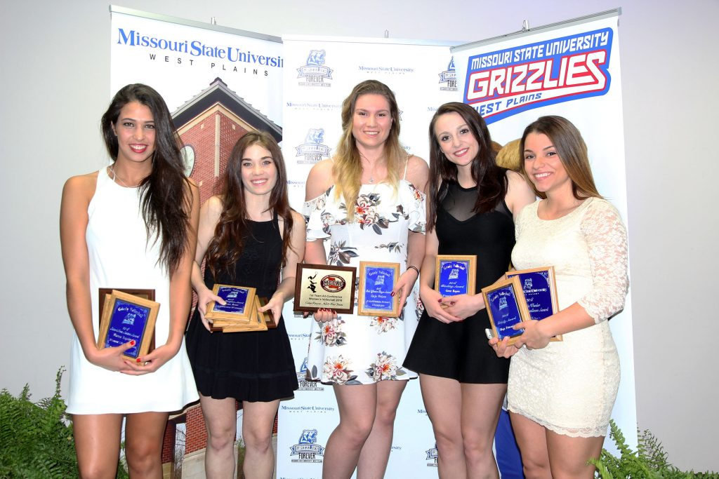 SEVERAL MEMBERS of the 2016-2017 Grizzly Volleyball team at Missouri State University-West Plains received individual awards at the annual Grizzly Sports Reception Tuesday evening, April 11, at the West Plains Civic Center's Magnolia Room. From left, Blanca Izquierdo, Madrid, Spain, Setter/Most Assists (1,374 assists) and Grizzly Awards; Autumn Reese, Ozark, Best Defensive Player (578 digs), Service Reception (2.44 passing rating) and Grizzly Awards; Catja Weijzen, Houten, Holland, Best Offensive Player Award (431 kills, .316 attacking percentage); Greer Rogers, Fort Smith, Ark., Blocking Award (87 total blocks, 28 solo blocks); and Maja Petronijevic, Belgrade, Serbia, Grizzly and Marvin Wheeler Academic Excellence Awards. Stephanie Phillips, Brisbane, Australia, also received the Grizzly and Marvin Wheeler Academic Excellence Awards. Reese, Weijzen and Izquierdo also were recognized for being named to the first team All-Missouri Community College Athletic Assocation Team. (Missouri State-West Plains Photo).