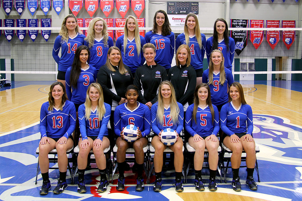 """THE 2016 GRIZZLY VOLLEYBALL team at Missouri State University-West Plains recently received the 2016-17 Team Academic Award from the American Volleyball Coaches Association (AVCA). The team posted a cumulative grade point average of 3.82 on a 4.0 scale, earning it """"honor roll"""" status. Members include, front row from left, Kinli Simmons, Milo; Mikhala McCullough, Springfield; Adriana Darthuy, Marseille, France; Kaitlyn Raith, Mountain View; Autumn Reese, Ozark; and Maja Petronijevic, Belgrade, Serbia. Second row: Blanca Izquierdo-Paton, Madrid, Spain; Strength and Conditioning Coach Keri Elrod; Head Coach Paula Wiedemann; Assistant Coach Briana Walsh; and Elliotte Bourne, Rolla. Back row: Catja Weijzen, Houten, Holland; Rachel Holthaus, Winona; Johonna Walkup, Mountain View; Muara Kroon, Utrecht, Holland; Stephanie Phillips, Brisbane, Australia; and Greer Rogers, Fort Smith, Ark. (Missouri State-West Plains Photo)"""