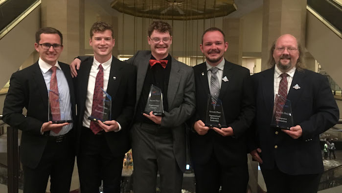Five Members of the Phi Beta Lambda (PBL) student business organization at Missouri State University-West Plains at the 2017 Future Business Leaders of America (FBLA)/PBL National Leadership Conference June 24-27 in Anaheim, Calif. From left are Dillon Cordel and Derek McGinnis, both of West Plains; Jim Listopad and Weston Mitchell, both of Cabool; and Darian Williams, West Plains. (Photo provided)