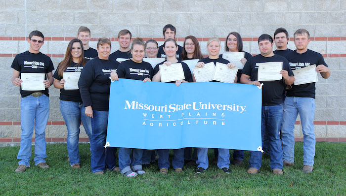 Agriculture Students at Missouri State University-West Plains collected several awards in competitions during the 2016 Missouri Postsecondary Agriculture Student Organization conference Nov. 9-11 in West Plains. With their awards above are, front row from left, Dr. Linda Wulff-Risner, assistant professor of agriculture and group co-adviser; Haden Garrett and Dessa McBride, both of West Plains; Samantha Janes, Couch; and Benjamin Blank, Richmond. Second row: Michaela Silva, Gainesville; Audrey McClellan, Willow Springs; Bailey McCully, West Plains; Keshia Wilson, Licking; and Shawn Lewis, Moody. Back row: Bryce King, Alton; Mitchell Elkins, Ozark; Casey Watkins, Caulfield; Kyle Wilson, Houston; and Cordale Foster, West Plains. Liz Baty, Alton, Christine Jordan, Willow Springs, Jaden Hicks, West Plains, and Matthew McEntire, Pomona, also competed at the conference. Assistant Professor of Agriculture/Entrepreneurship Cathy Proffitt-Boys assisted with the event. (Missouri State-West Plains Photo)