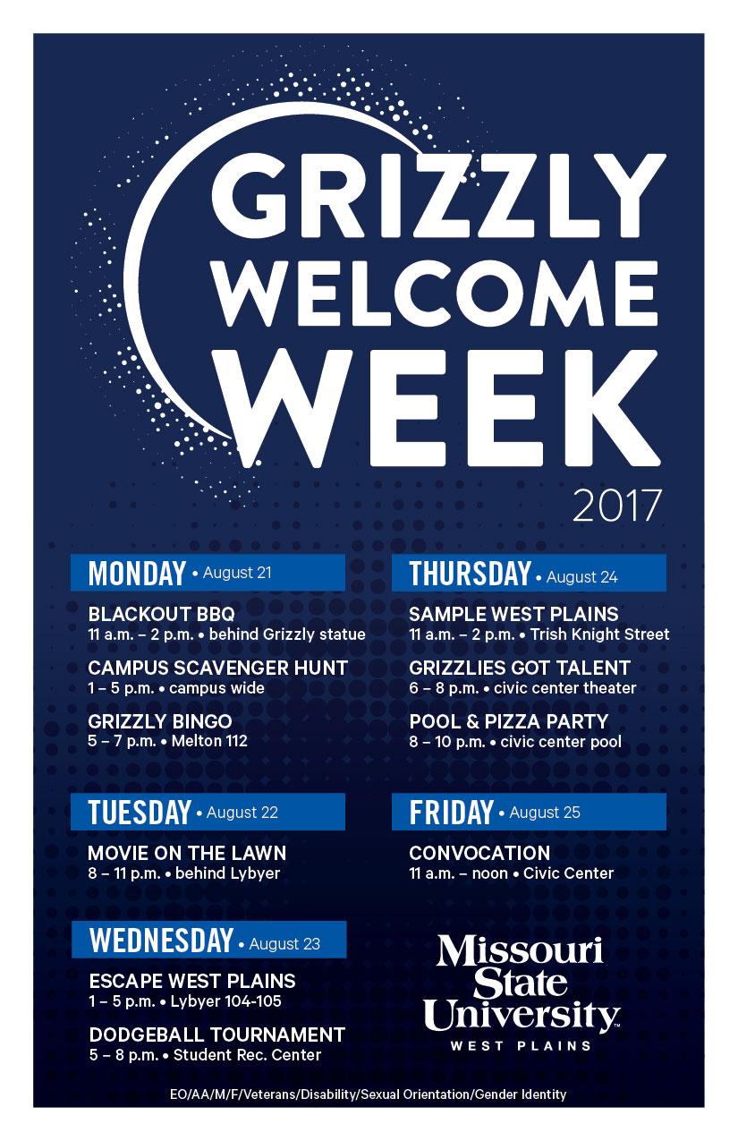 Welcome Week Schedule