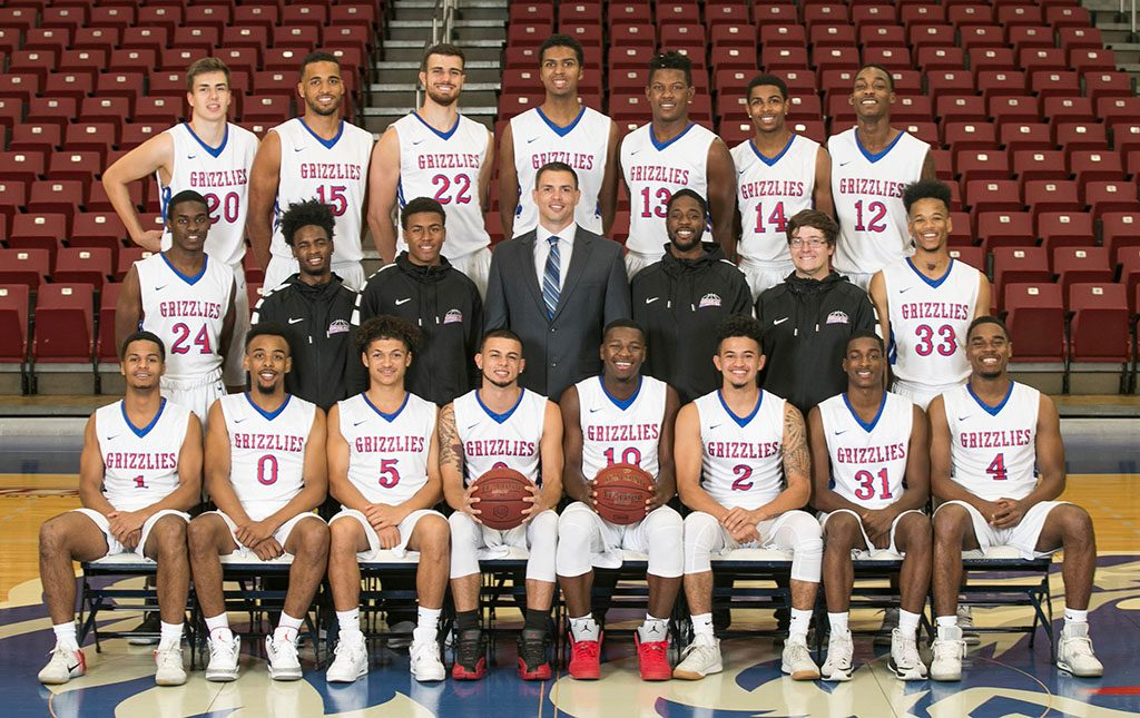 THE 2017-18 GRIZZLY BASKETBALL team at Missouri State University-West Plains includes, front row from left, Erik Nvagbara, Kharkiv, Ukraine; Nieke Thomas, Springfield; Johde Campbell, Leicester, England; Ricky Torres, Pinellas Park, Fla.; Radshad Davis, Nassau, Bahamas; Terrell Whitaker, Pinellas Park, Fla.; Montel Stewart, Palm Bay, Fla.; and Eric Lovett, Union City, Ga. Second row: Evan White, Florissant; managers Marcus Golden and Eric Stafford, both of St. Louis; Head Coach Chris Popp; managers Jordan Cook, St. Louis, and Bennett Sandwell, Springfield; and Derrick Roberson, Springfield. Back row: Mykyta Drugachonok, Odessa, Ukraine; Yannis Mendy, Metting, France; Leo Kontopoulos, Frankfurt, Germany; Greyson Smallwood, Portland, Ore.; Dontell Brown, Lexington, Ky.; Kenyon Stone, Bowie, Md.; and Burone Edwards, San Antonio, Texas. (Missouri State-West Plains Photo)