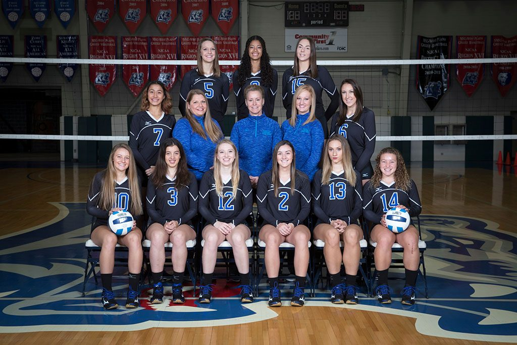 THE 2017-18 GRIZZLY VOLLEYBALL team includes, front row from left, Kamryn Artale, Springfield; Miriam Cardoner Soler, Barcelona, Spain; Elliotte Bourne, Rolla; Kinli Simmons, El Dorado Springs; Tatjana Trifkovic, Belgrade, Serbia; and Alyssa Matherly, Cabool. Second row: Yileen Ng He, Colon, Panama; Strength and Conditioning Coach Keri Elrod; Head Coach Paula Wiedemann; Assistant Coach Briana Walsh; and Koty Cooper, Stella. Back row: Grace Strumbaugh, Concordia; Keziah Williams, Branson; and Karolina Noszczyk, Bedzin, Poland. (Missouri State-West Plains Photo)
