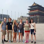 THESE SIX STUDENTS from Missouri State University-West Plains are spending the fall semester at Liaoning Normal University (LNU) in Dalian, China, as part of the China Semester Study Away Program. In addition to taking classes at Missouri State-West Plains' branch campus at LNU, they're also working as interns in the campus' offices and teaching Chinese students English. Through their experience, they will learn more about the Chinese culture, history and language and develop an increased awareness of the growing business relationship with the U.S. From left are Sage Clunn, Ava; Weston Phipps, West Plains; Meghan Ledford, Ozark; Rosemary Driscoll, Brandsville; Michelle Oliver, West Plains; and Destiny Johnson, Viola, Ark., at Tienanmen Square in Beijing near the Forbidden City. The group left the U.S. on Aug. 16 and will return Dec. 16. (Photo provided)