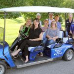 THE PHILANTHROPIC WOMEN FOR EDUCATION (PWE) recently donated funds for the purchase of this golf cart for the admissions office at Missouri State University-West Plains. The cart will be used for campus tours, among other uses, university officials said. Front row from left: PWE members Mary-Louise Tollenaar, Emily Grisham, Joyce McGee and Jessica Nease. Back row: PWE members Sandra Joplin, Elizabeth Bennett and Regina Gleghorn, Dean of Student Services Dr. Angela Totty, Coordinator of Admissions Melissa Jett and Recruitment Specialist Rachel Peterson. (Missouri State-West Plains Photo)
