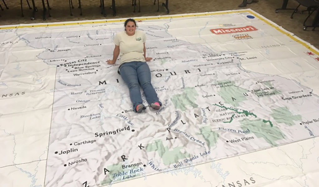 THIS 21-BY-17-FOOT MAP of the state of Missouri will be on display during the annual meeting of the American Association of Geographer's West Lakes Division Oct. 16-20 at the West Plains Civic Center. The map is on loan from the Missouri Geographic Alliance. (Photo courtesy the Missouri Geographic Alliance)