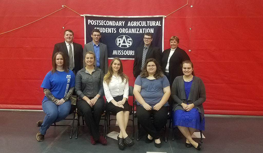 THESE STUDENTS in the Agriculture Department at Missouri State University-West Plains placed in competitions at the 2017 Missouri Postsecondary Agriculture Students (PAS) Organization Conference Nov. 13-15 at North Central Missouri College in Trenton. Seated from left: Dessa McBride, West Plains; Jerica Will, Winona; Sabrina Brinkerhoff, West Plains; Rae Kirkwood, Houston; and Haden Garrett, West Plains. Standing: Douglas Cooley II, Plato; Bryce King, Alton; Jarod Coatney, West Plains; and Dr. Linda Wulff-Risner, associate professor of agriculture and the group's faculty adviser. (Photo provided)