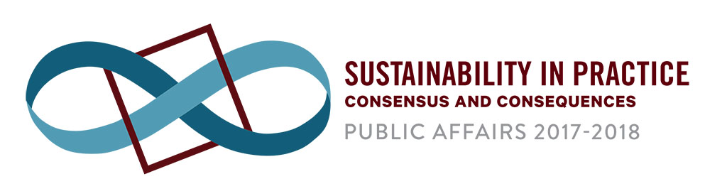 Logo of the 2018 MSU Public Affairs Conference, Sustainability in Practice: Consensus and Consequences.