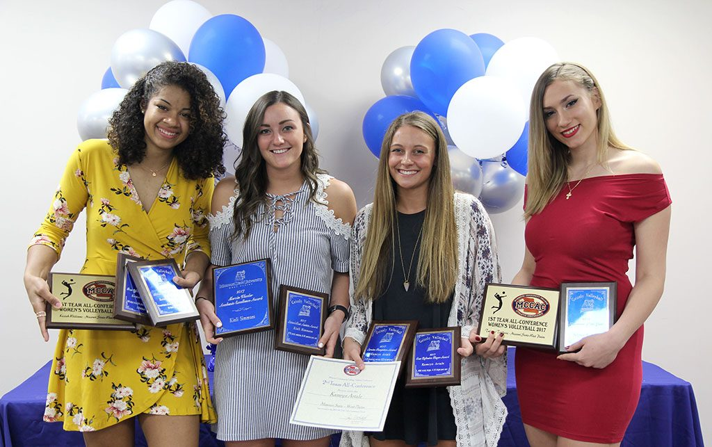 FOUR MEMBERS of the 2017 Grizzly Volleyball team at Missouri State University-West Plains received individual awards during the annual Grizzly Sports Reception Thursday evening, April 12, at the West Plains Civic Center's Magnolia Room. Kinli Simmons, El Dorado Springs, received awards for NJCAA All-Region 16 Second Team and assists (578 total assists; 6.49 assists per set) and the Marvin Wheeler Academic Excellence Award. Kamryn Artale, Springfield, received awards for NJCAA All Region 16 First Team, Missouri Community College Athletic Conference (MCCAC) All-Conference Second Team, digs (458 total digs; 4.16 digs per set), and service reception (2.30 rating). Keziah Williams, Branson, received awards for NJCAA All-Region 16 First Team, MCCAC All-Conference First Team, kills (254 total kills; 2.23 kills per set; attacking percentage .279) and blocks (total blocks 95, solo blocks 28, assisted blocks 67, blocks per set .86). Tatjana Trifkovic, Belgrade, Serbia, received awards for NJCAA All-Region 16 First Team, MCCAC All-Conference First Team and Newcomer of the Year. From left are Williams, Simmons, Artale and Trifkovic. (Missouri State-West Plains Photo)