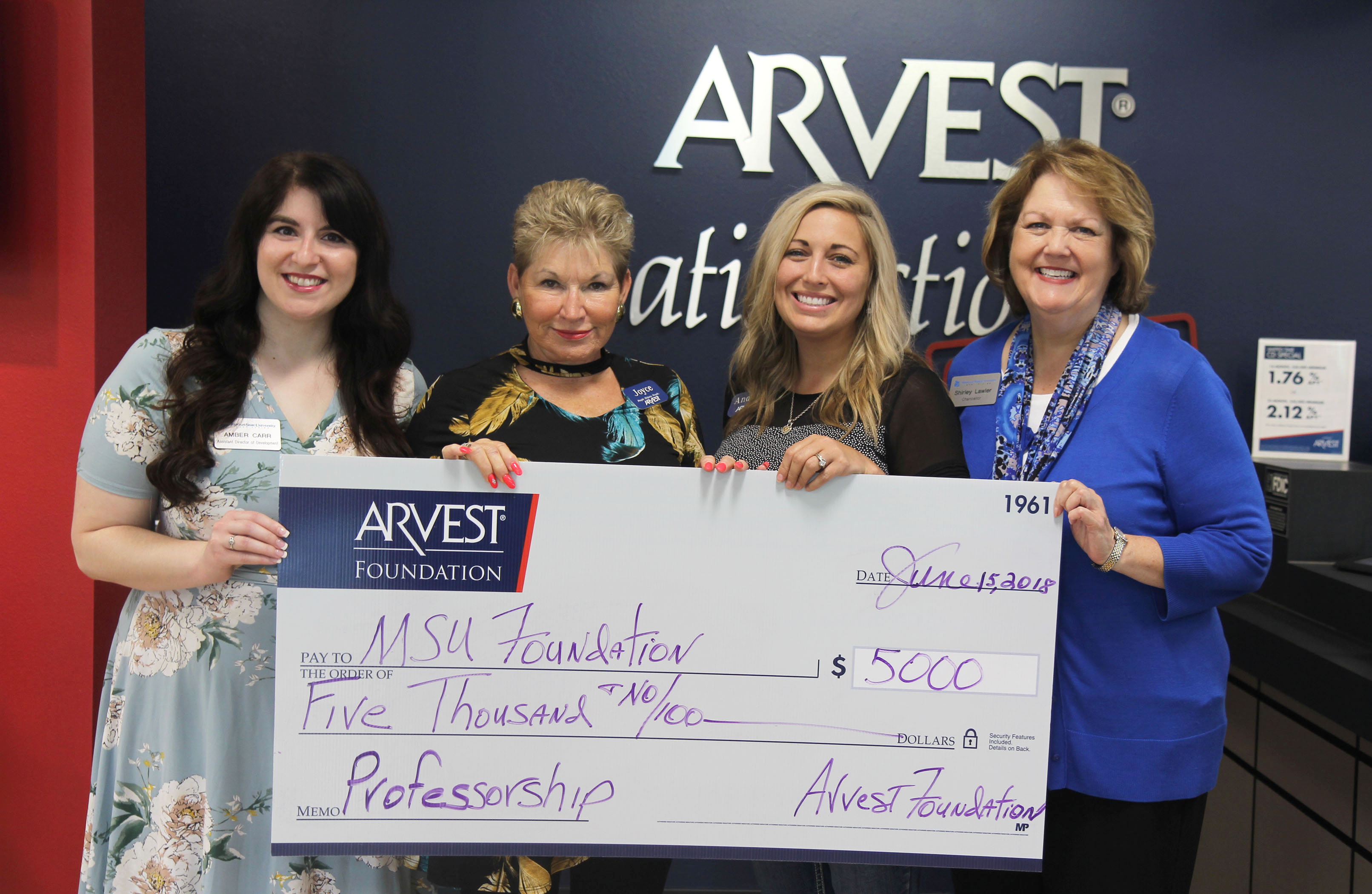 From left are Missouri State-West Plains Assistant Director of Development Amber Carr, Arvest Bank Market President Joyce James and Branch Sales Manager Andrea Crews, and Missouri State-West Plains Chancellor Shirley Lawler. (Missouri State-West Plains Photo)