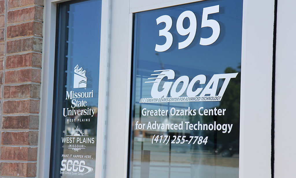Image of signage on the door of the Greater Ozarks Center for Advanced Technology