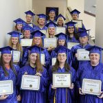 Members of the Adult Education and Literacy Program stand by row with their diplomas. They are, front row from left, Trisha Hathcock, Ava; Sean Sawyer, Cabool; and Elizabeth Shupe and Laura Russian, both of West Plains. Second row: Kaitlyn Davis, Birch Tree; Alice Baldridge and Brooke Bridges, both of Alton; and Dillon Utley, Houston. Third row: Teisha Parrish and Lindsay Gilmore, both of West Plains; and Kaitlyn Bradshaw, Birch Tree. Fourth row: Hannah Grisham, Quinton Busbey and Ashley McKee, all of West Plains. Back row: Joshua Eisenhouer, Houston; and Taylor Barton and Josiah Shoemake, both of West Plains. (Missouri State-West Plains Photo)