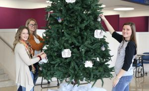 Student Ambassador members hang their ornaments on the tree.
