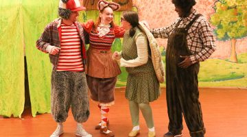 """Actors perform a scene from """"The Tortoise and the Hare."""""""