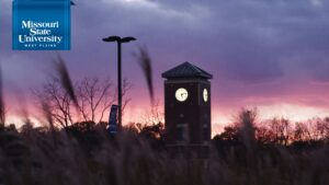 Zoom background: Bell Tower at Night at Missouri State-West Plains
